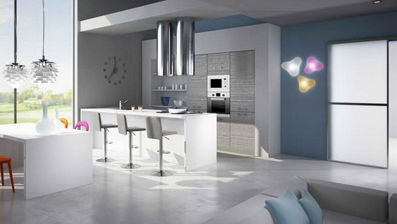 Awesome Cuisine Blanche Mur Gris Bleu Contemporary - House Design ...