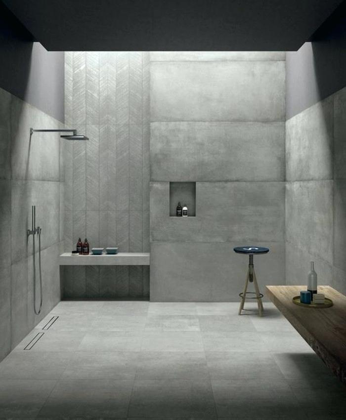 Beautiful Beton Cire Sur Faience Salle De Bain Images - House Design ...