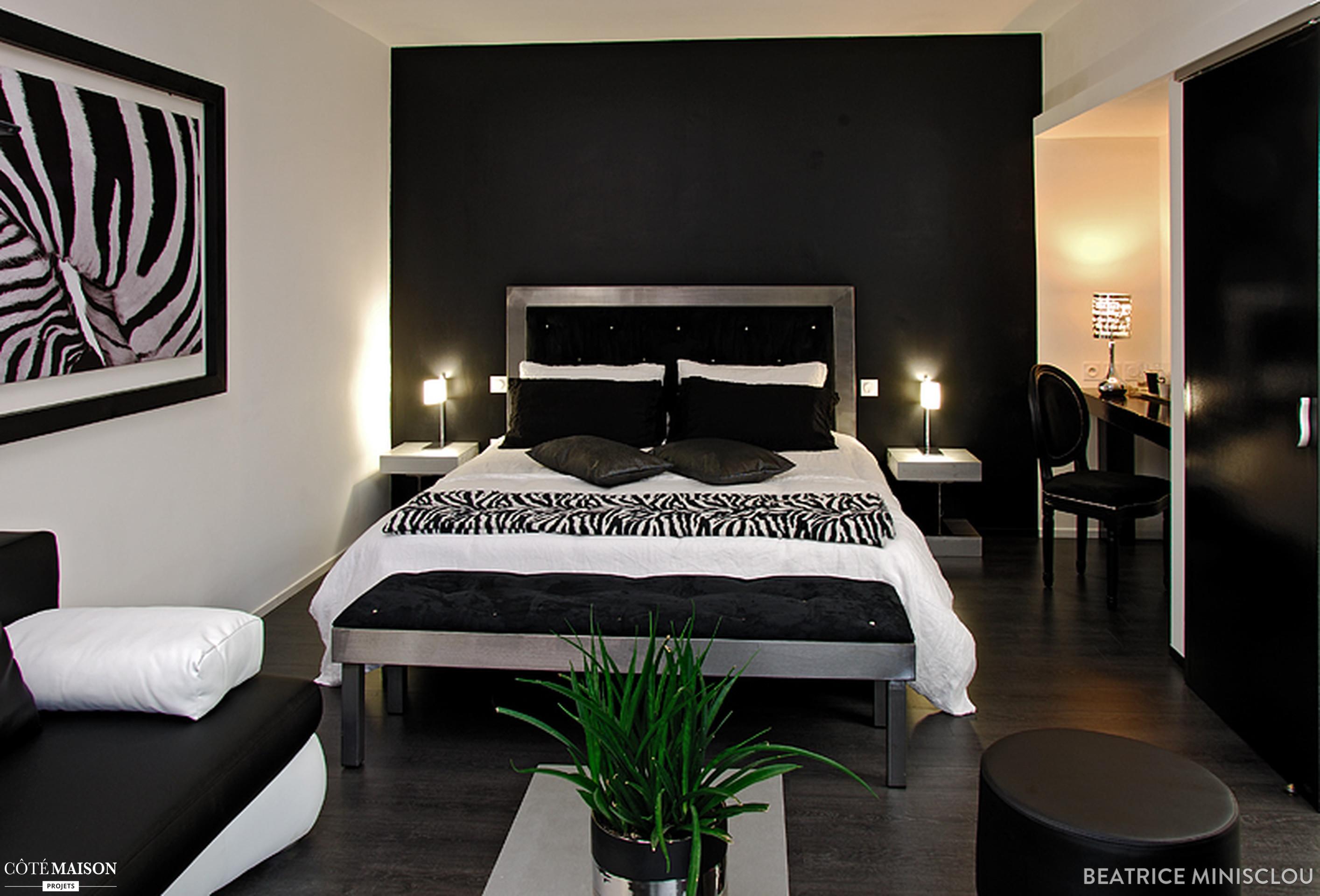 Deco peinture chambre noir et blanc - Idées de travaux