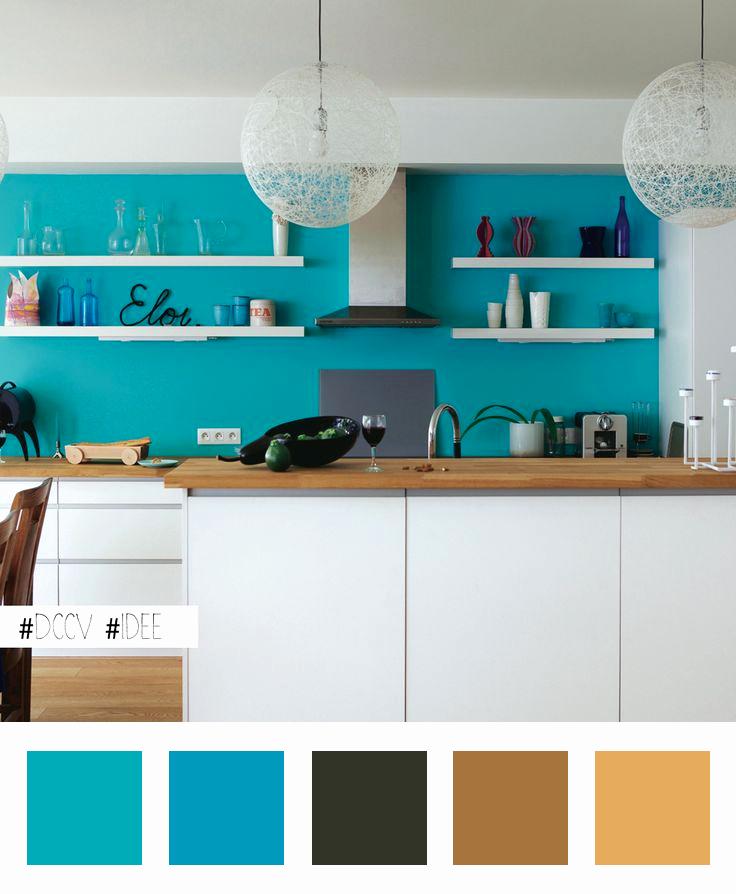 Couleur peinture cuisine blanche et bois id es de travaux - Cuisine bleue et blanche ...
