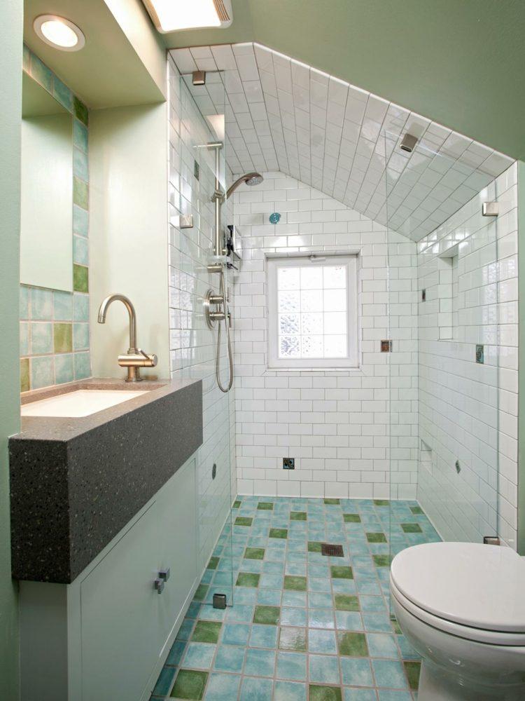 Peinture carrelage salle de bain vert d\'eau - Idées de travaux