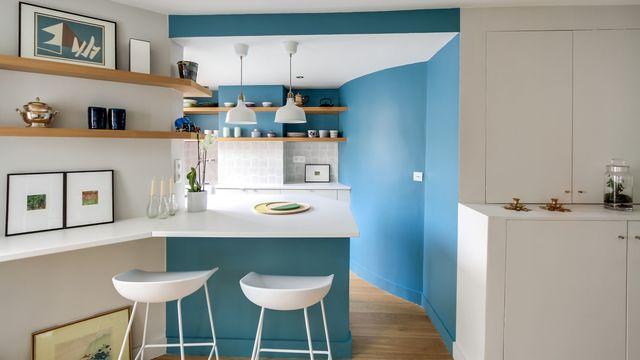 Peinture cuisine bleu clair - Idées de travaux