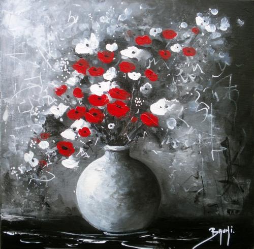 Peinture Acrylique Fleurs En Vase Idées De Travaux