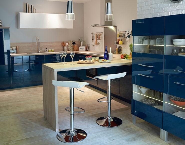 Peinture meuble cuisine bleu canard - Idées de travaux