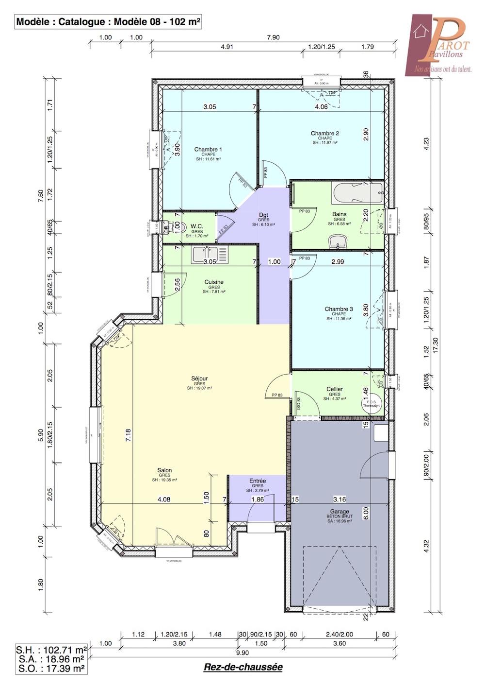plan de maison sur un terrain de 500m2