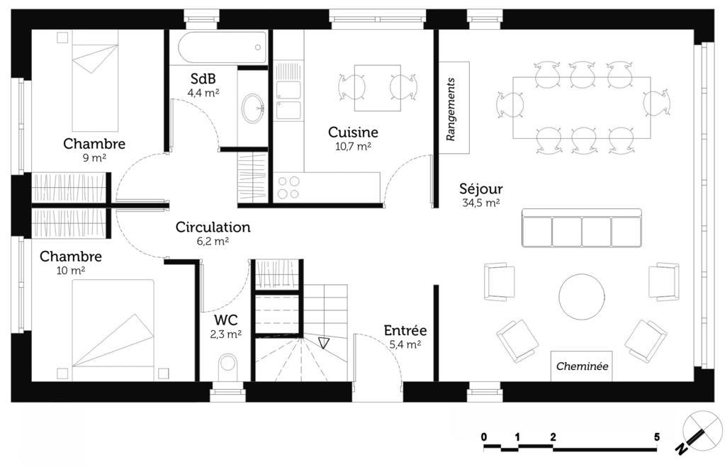 Plan maison 2 chambres en l