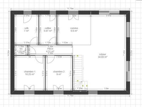 Plan de maison avec baie vitree