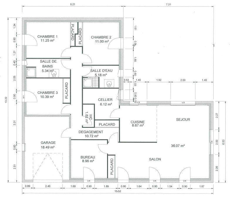 Plan d'une maison plain pied de 120m2