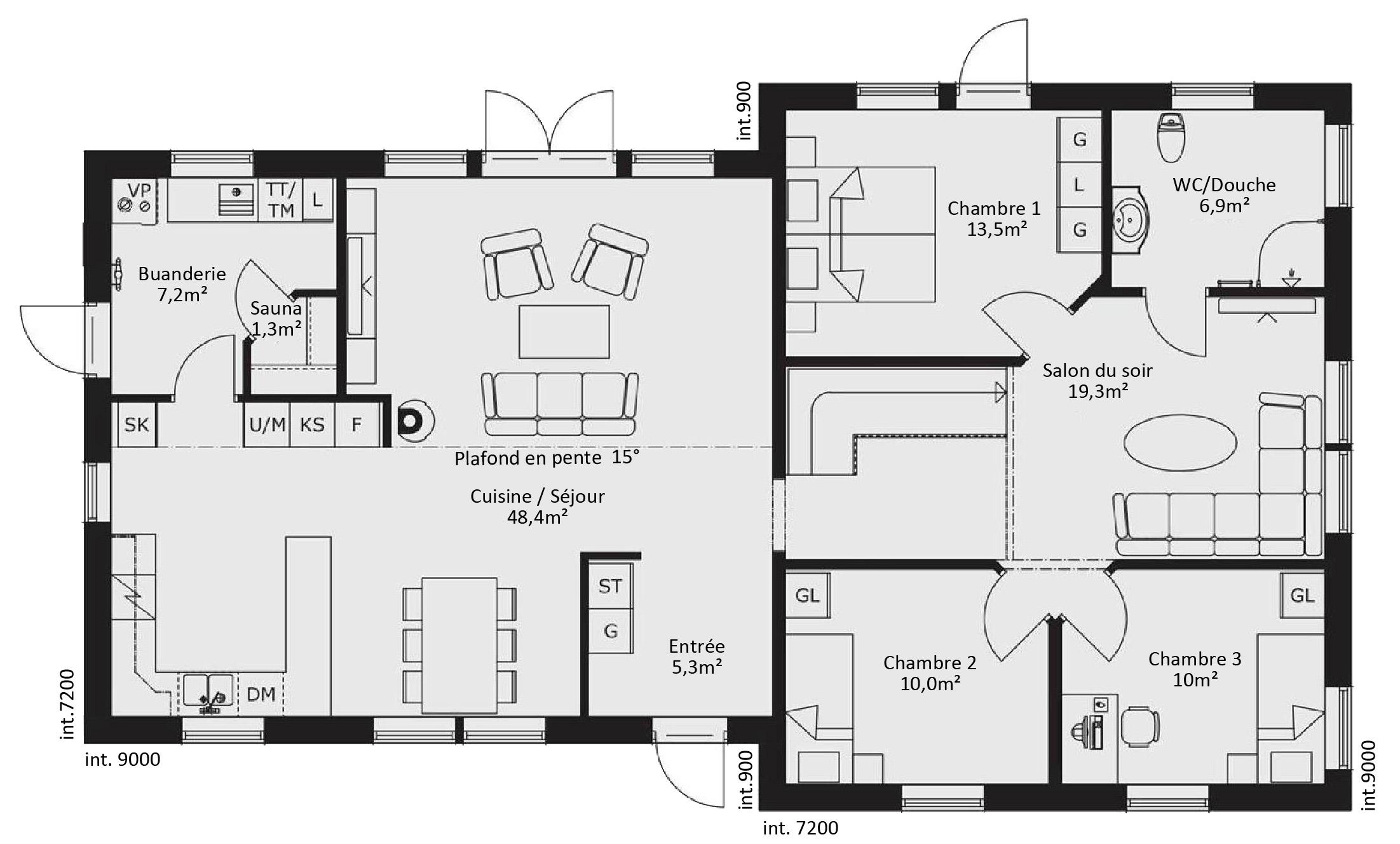 Plan de maison basse 5 pièces - Idées de travaux