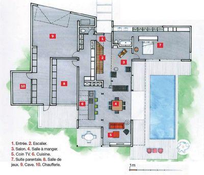Plan de maison avec jardin et piscine