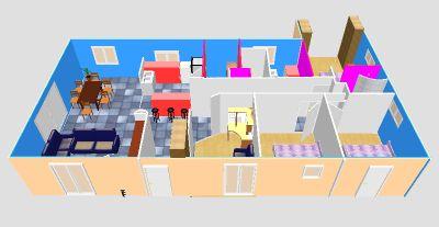 plan de maison avec 2 chambres et un bureau - idées de travaux