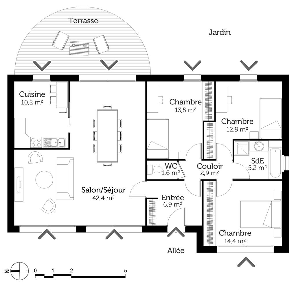 Plan de maison avec entr e au sud id es de travaux - Plan maison entree sud ...