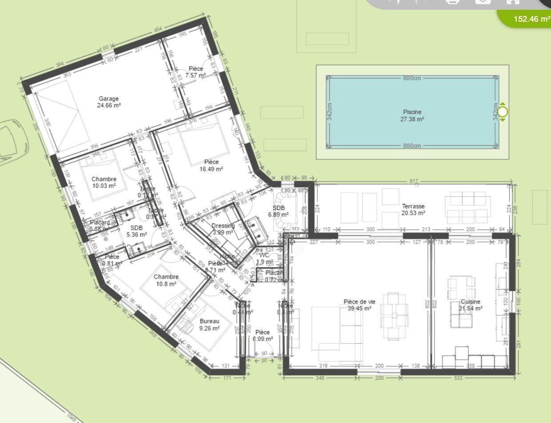 Plan maison 4 chambres en v id es de travaux - Plan maison en l 4 chambres ...