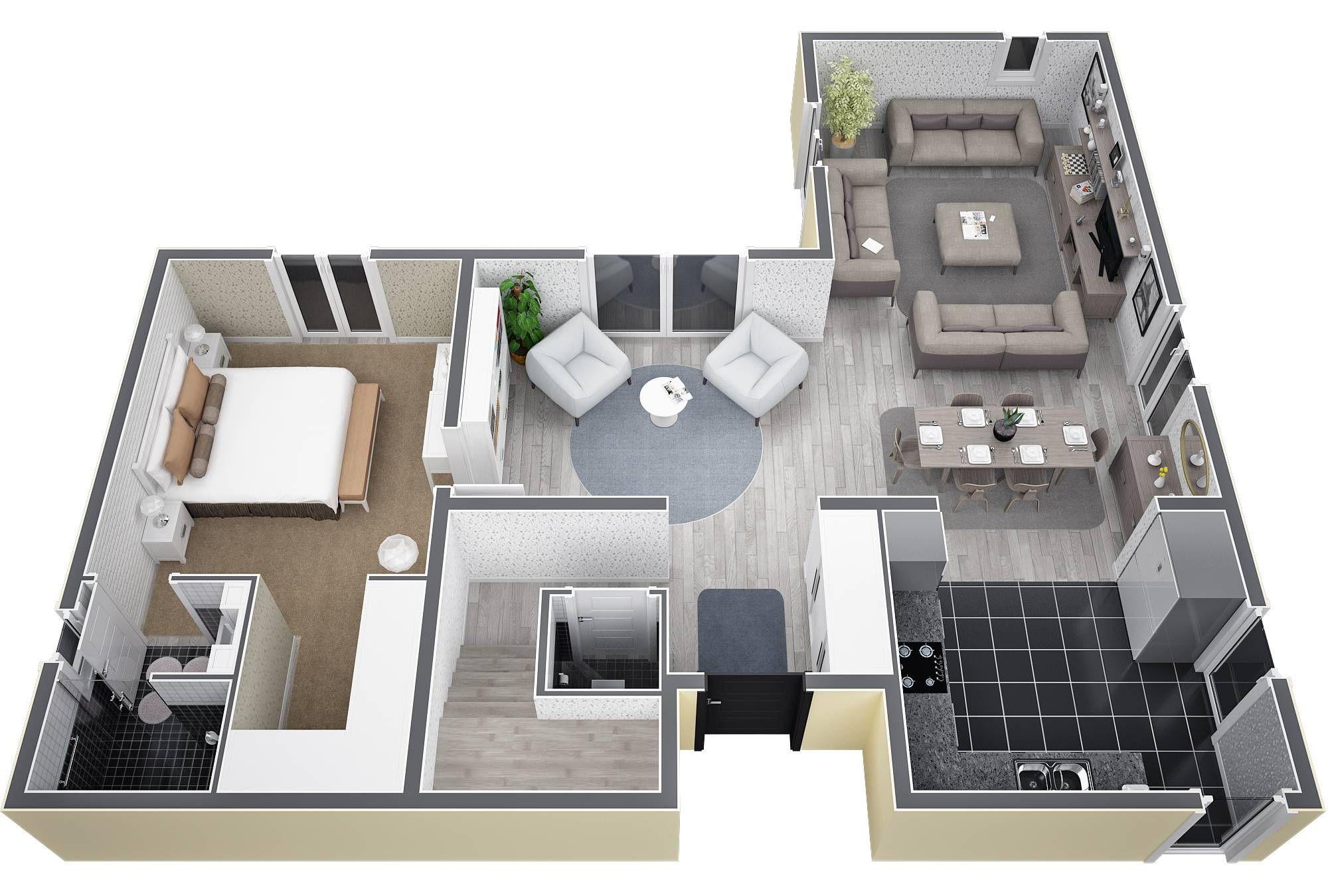 plan de maison en l 130m2 id es de travaux. Black Bedroom Furniture Sets. Home Design Ideas