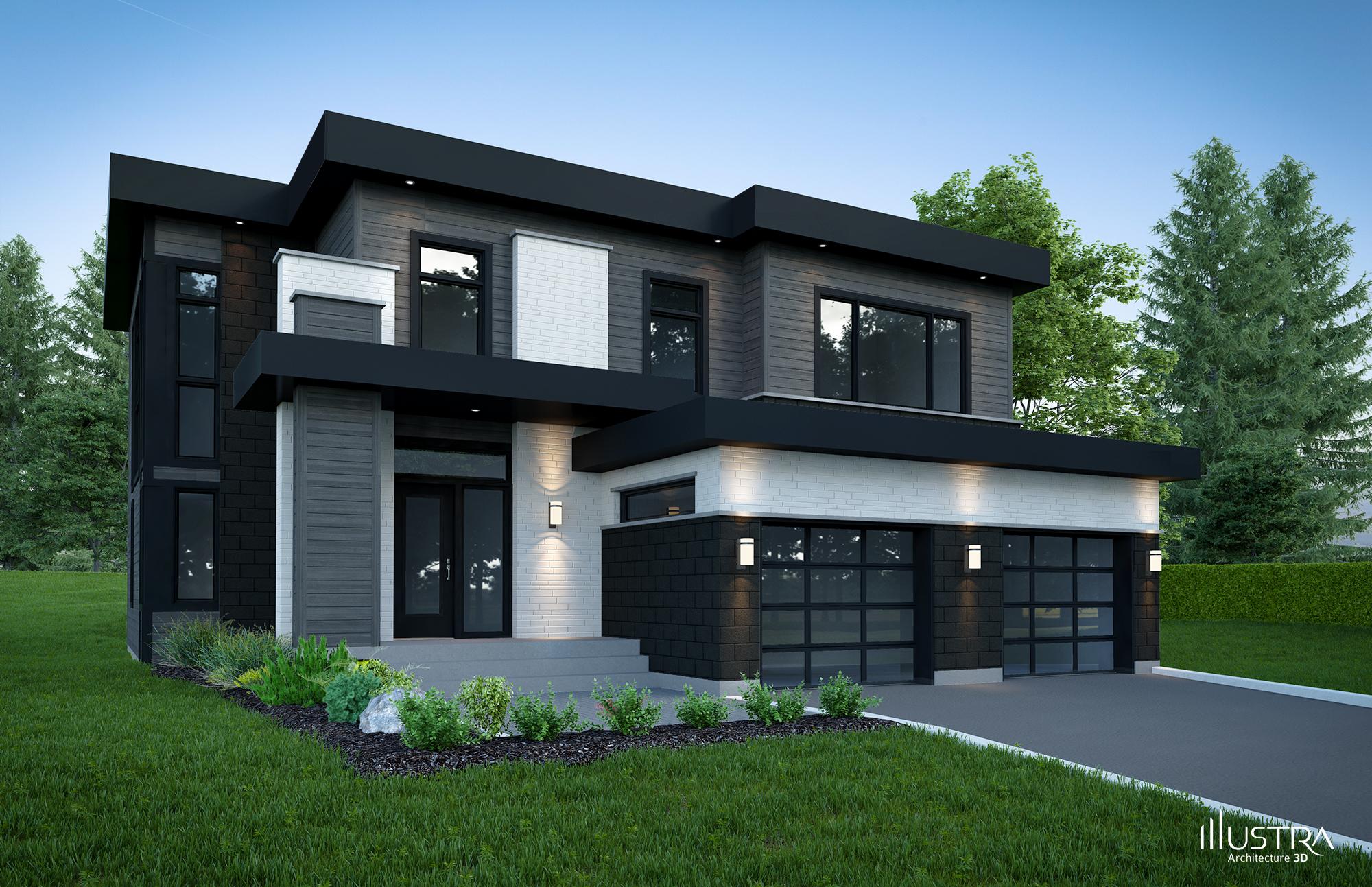 Plan de maison moderne avec garage id es de travaux - Plans de maisons modernes ...