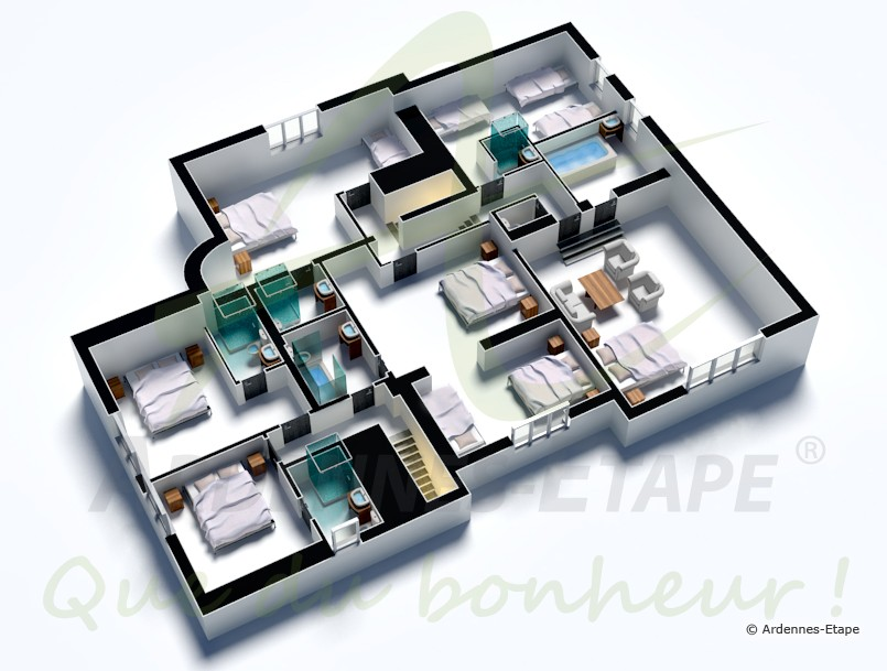 Plan de villa de luxe americaine 3d