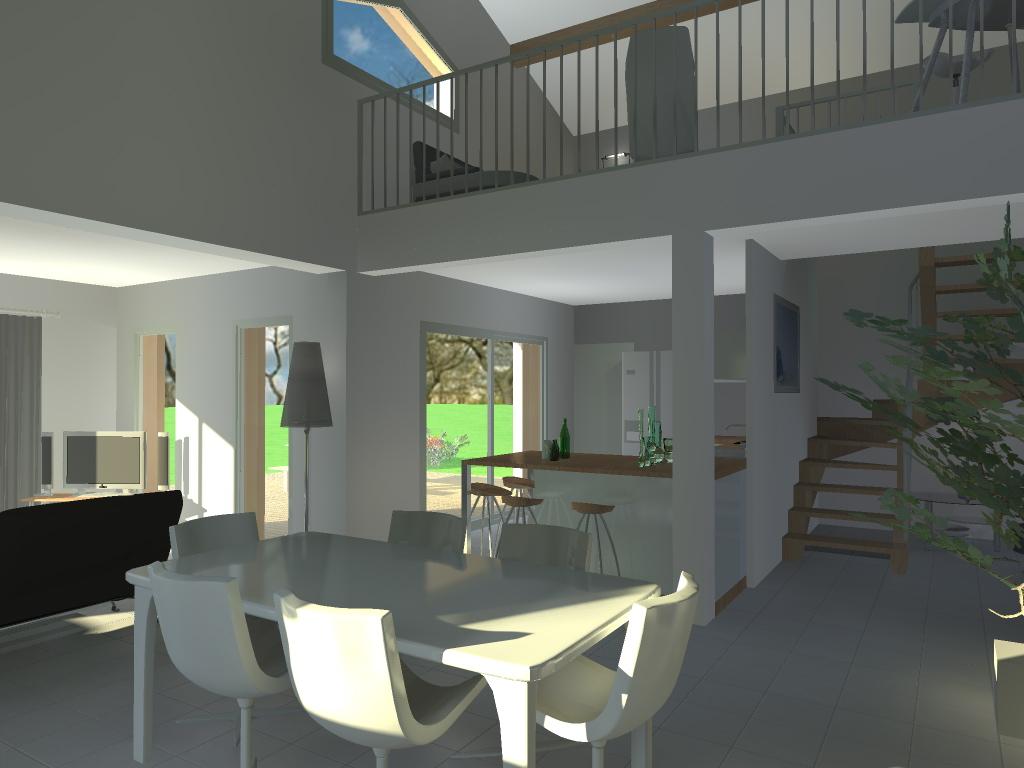 Plan maison architecte avec mezzanine - Idées de travaux