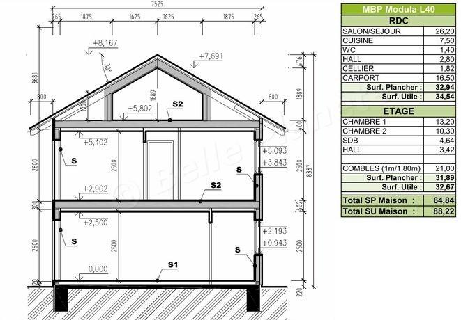 Plan de coupe maison rdc id es de travaux - Plan de coupe maison ...