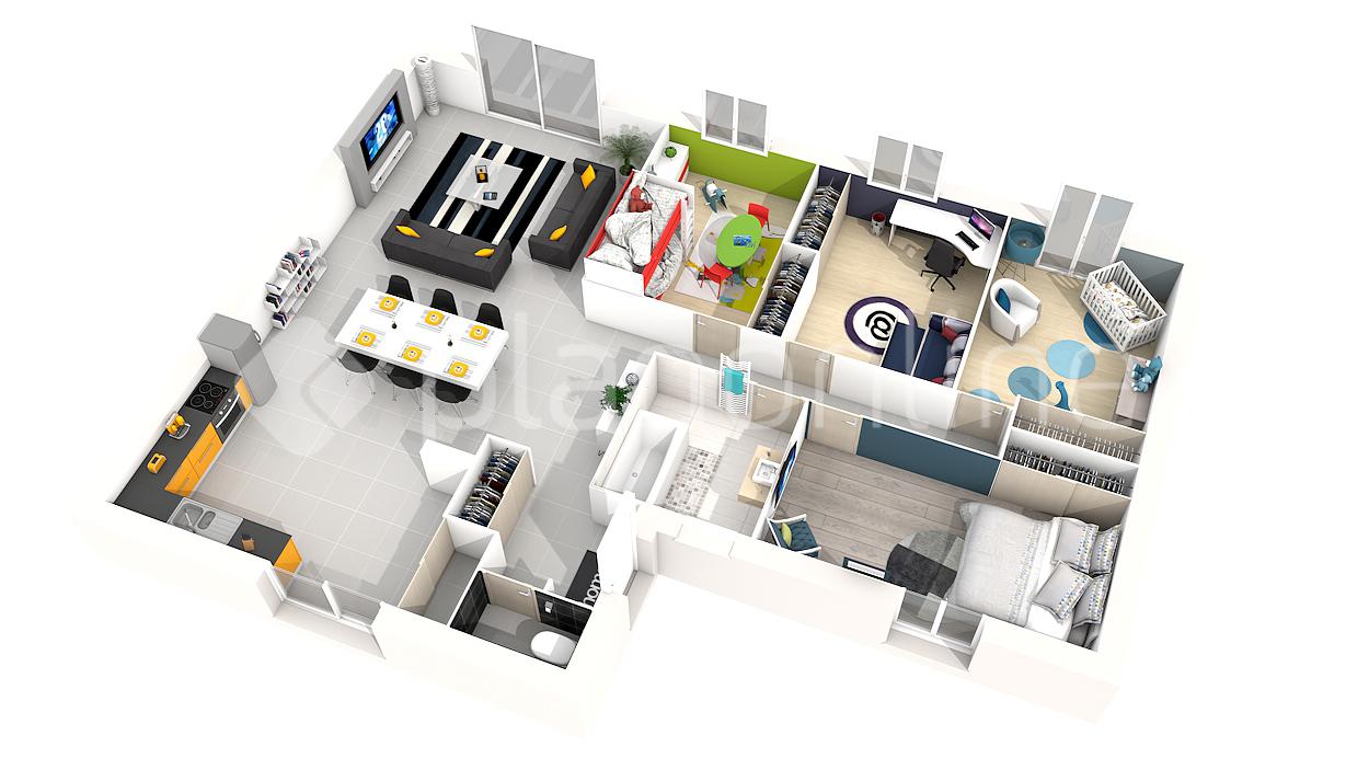 Le célèbre Plan 3d maison plain pied 3 chambres - Idées de travaux #XR_13
