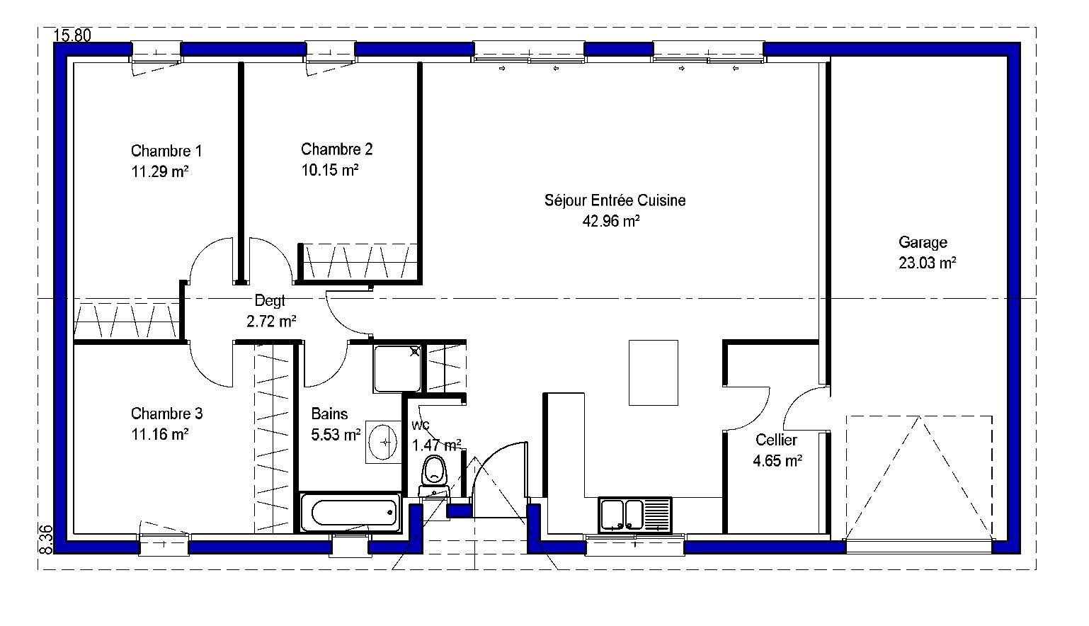 Plan type maison 2 chambres