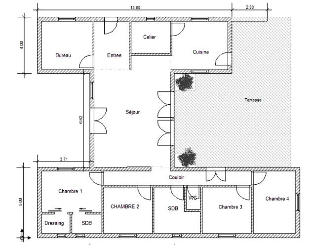 Idees plan de maison id es de travaux - Idee plan maison en longueur ...