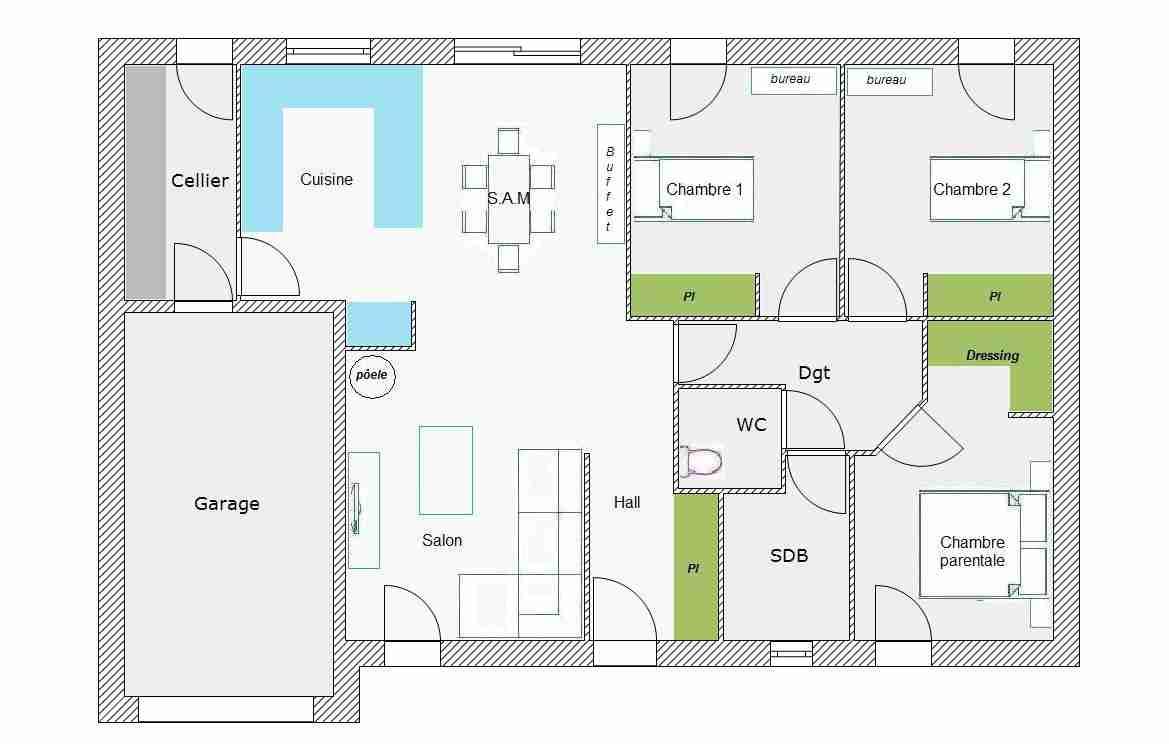Plan De Maison Plain Pied 3 Chambres Avec Garage Double | Ventana Blog