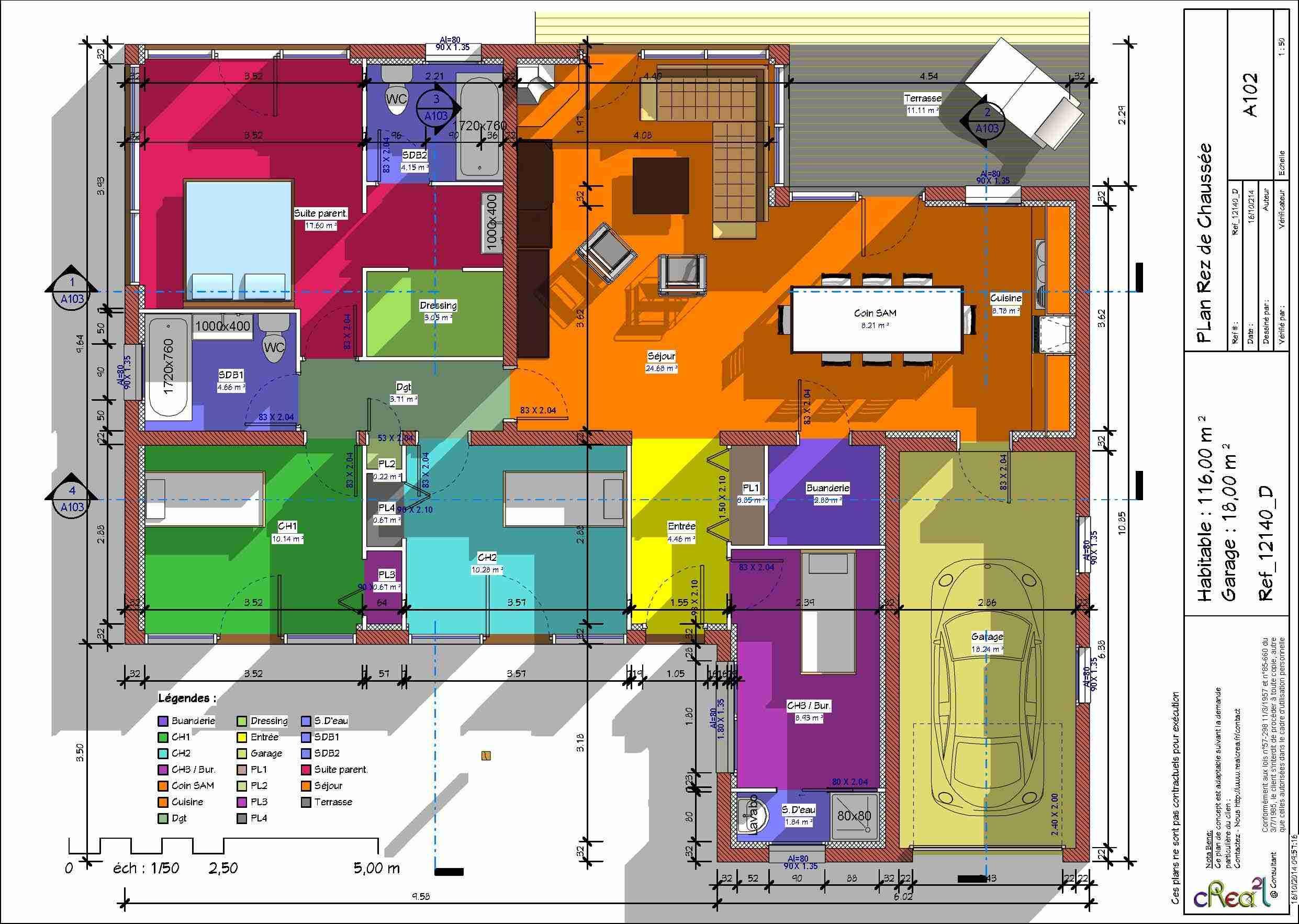 Plan maison 2 chambres suite parentale