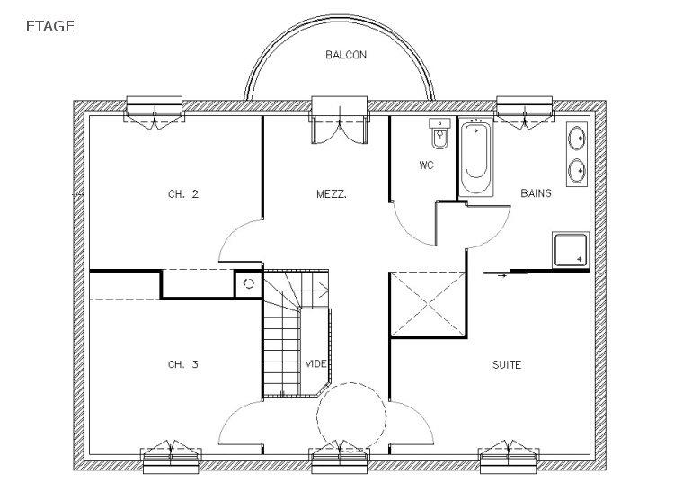 Plan de maison jumelée moderne