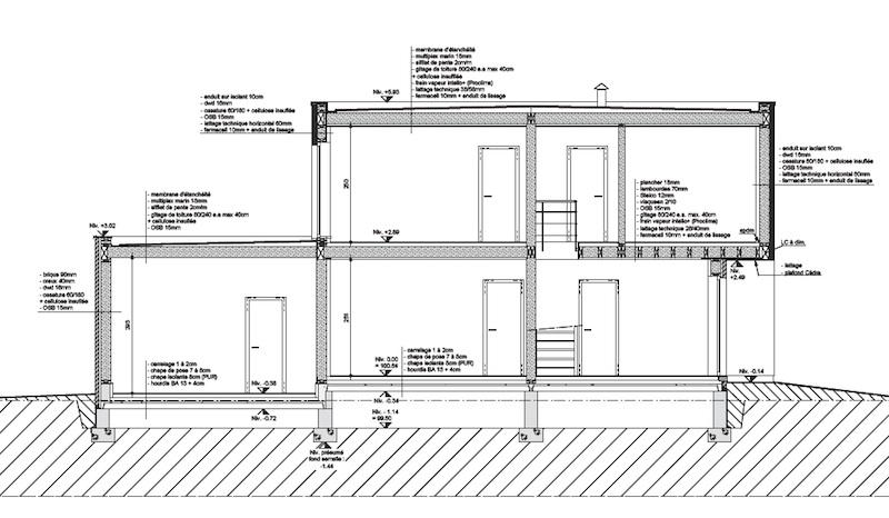 Plan de coupe maison toit plat id es de travaux - Plan de coupe maison ...