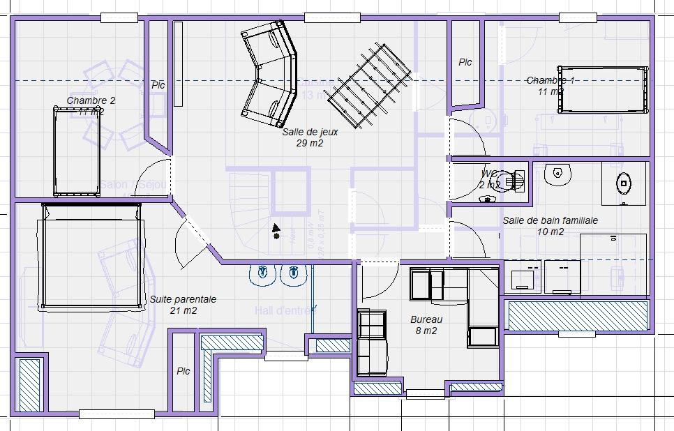 Plan maison 2 chambres plus suite parentale
