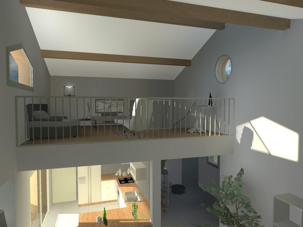 Plan maison contemporaine mezzanine