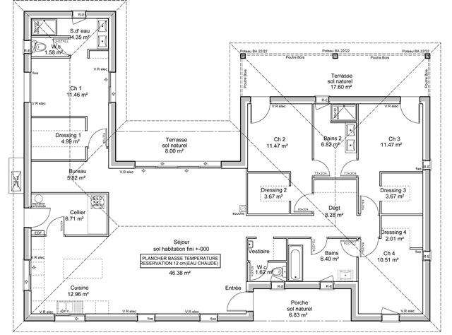 Plan de maison en u plain pied 4 chambres id es de travaux - Exemple de plan de maison gratuit ...