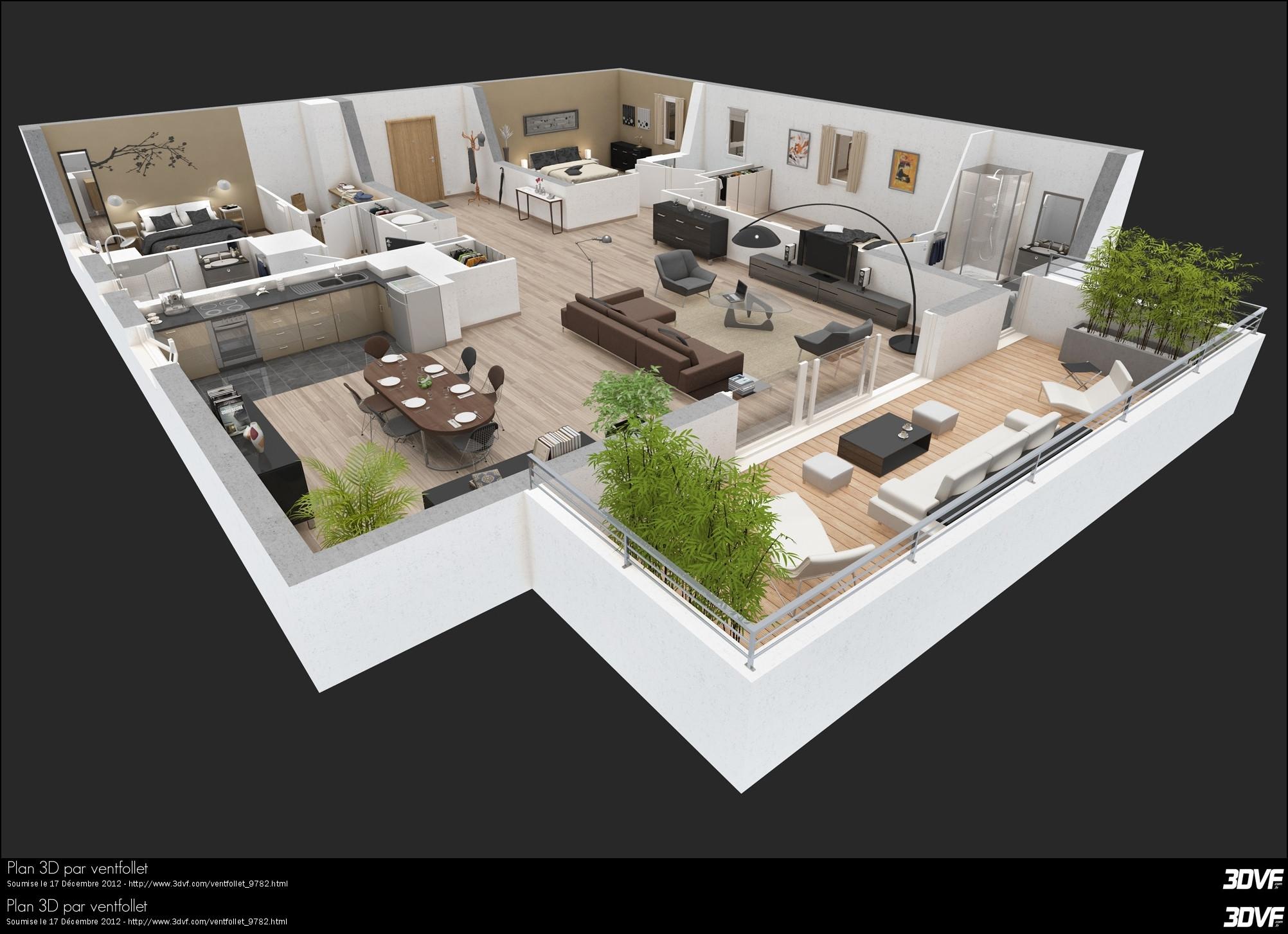 Plan de maison moderne 3 chambres 3d id es de travaux - Plan maison moderne 3 chambres ...