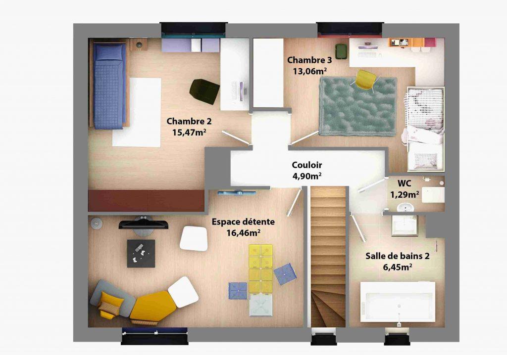 Plan maison 4 chambres 2 salles de bain plain pied id es - Plan etage 4 chambres ...