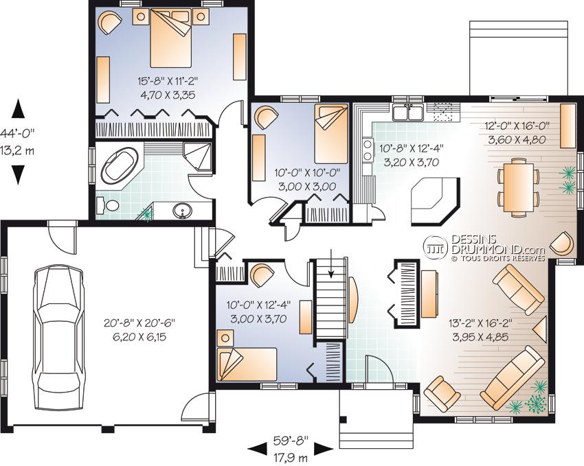 Plan de maison contemporaine avec double garage