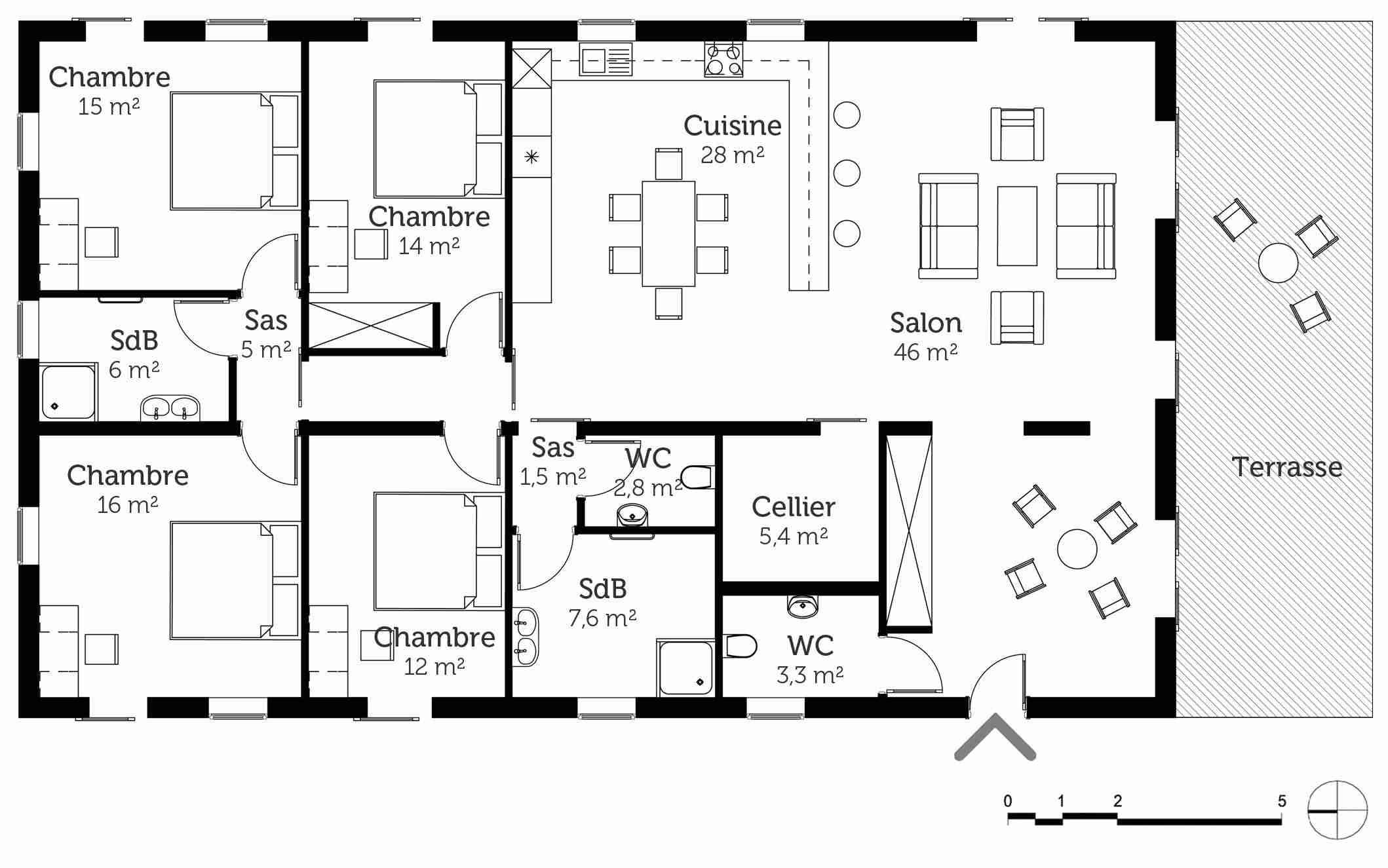 Plan de maison plain pied 4 chambres id es de travaux - Plan maison r 1 100m2 ...