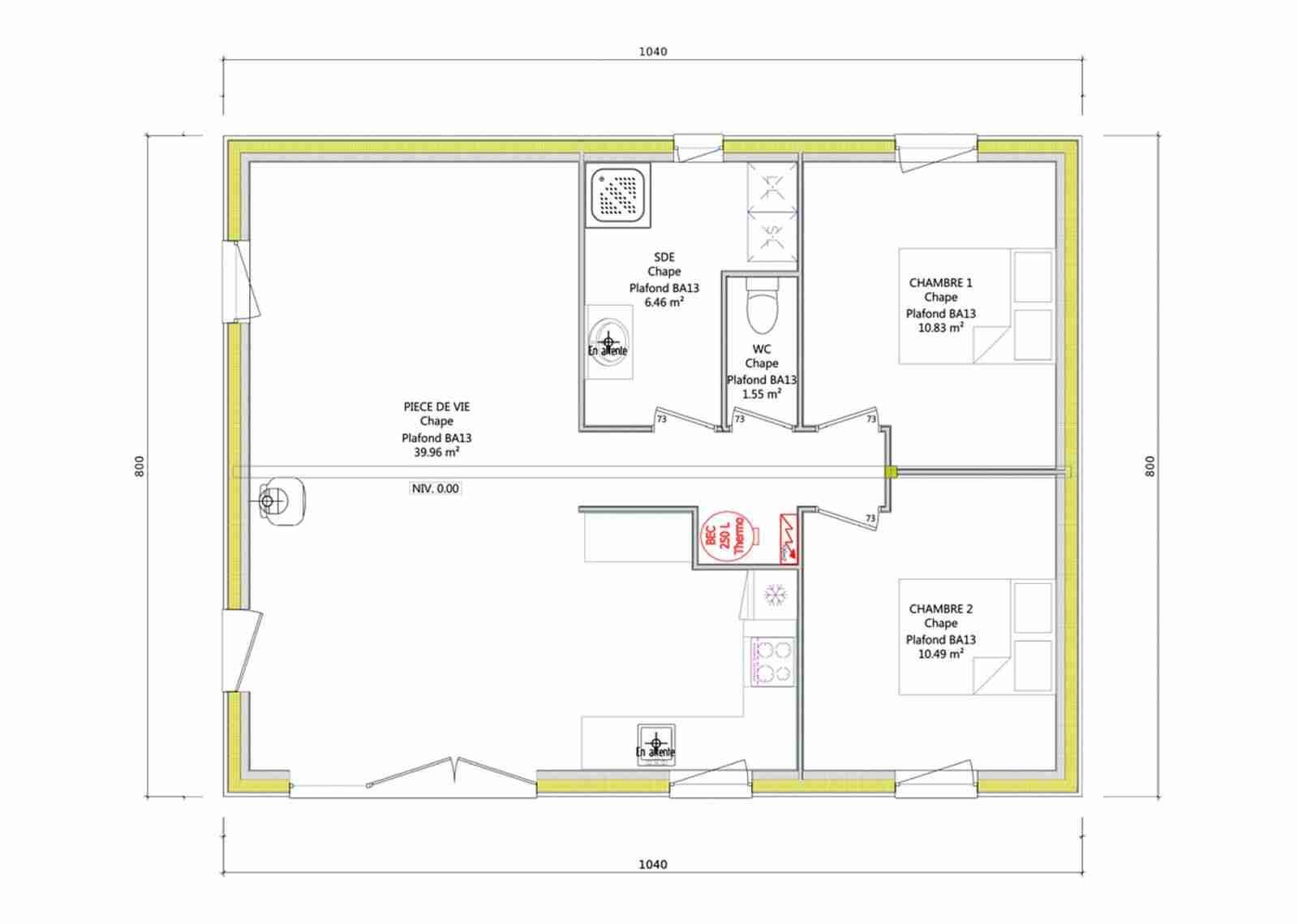 Plan maison 70m2 plein pied sans garage ventana blog for Plan maison 2 chambres