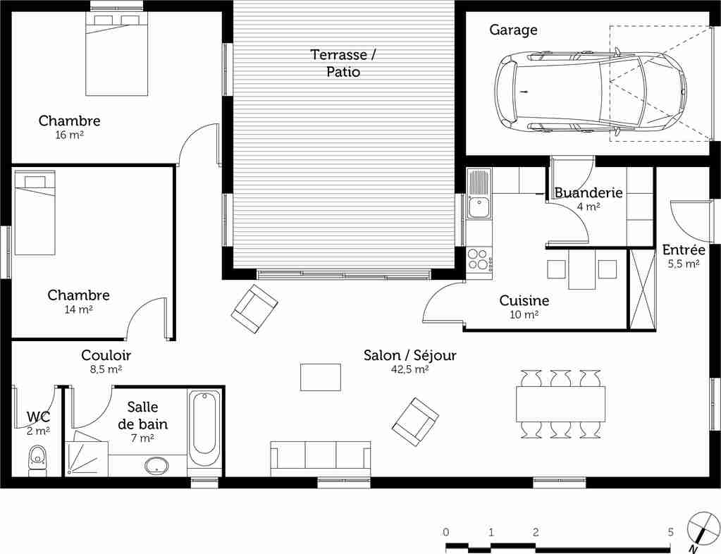 Plan gratuit maison plain pied 2 chambres
