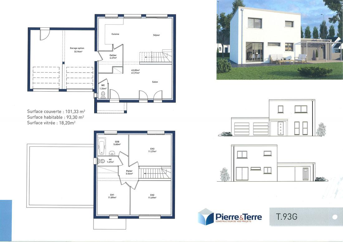 Plan de maison avec 2 chambres a l etage - Idées de travaux