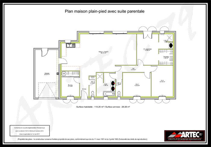 Plan Maison 2 Chambres Avec Suite Parentale