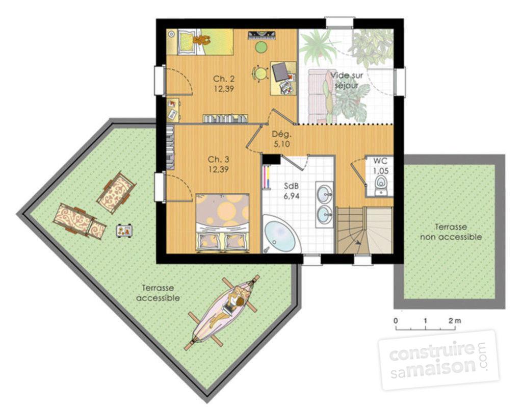 Plan de maison contemporaine a etage gratuit id es de travaux - Plan maison contemporaine a etage ...