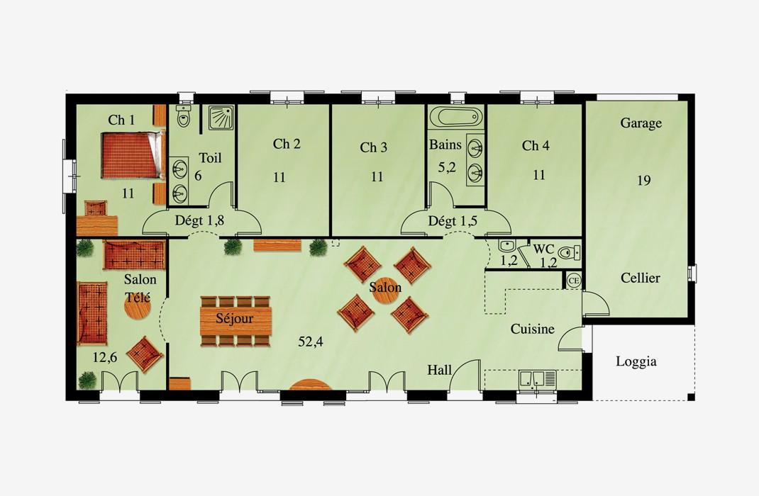 Plan de maison plain pied loft - Idées de travaux