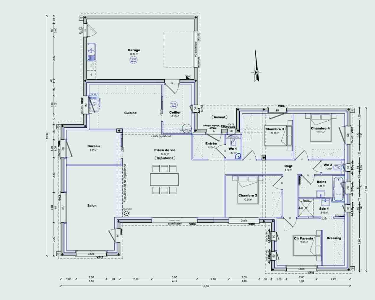 Plan De Maison En V Plain Pied 4 Chambres 140 M2