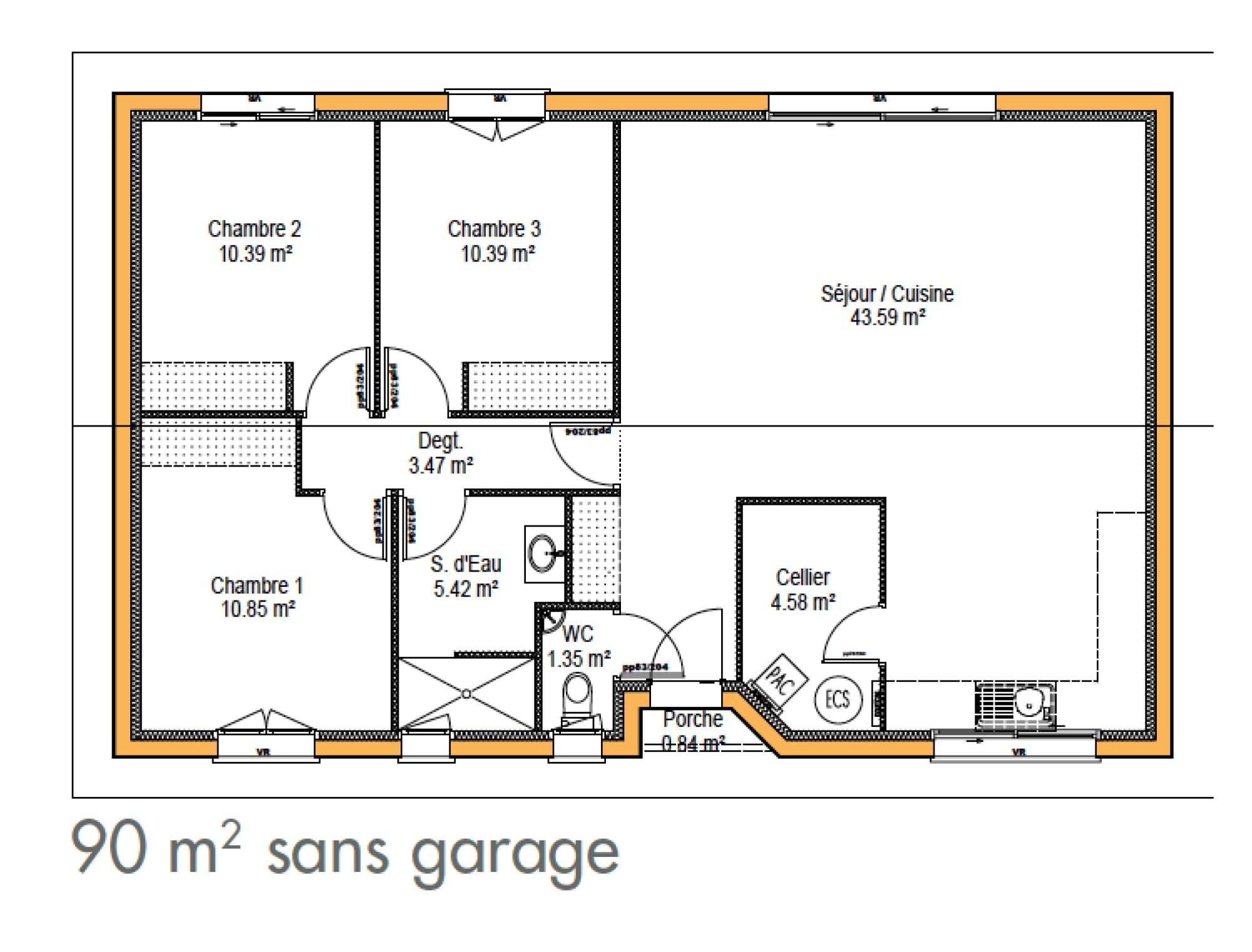 Plan de maison 2 chambres salon douche - Idées de travaux