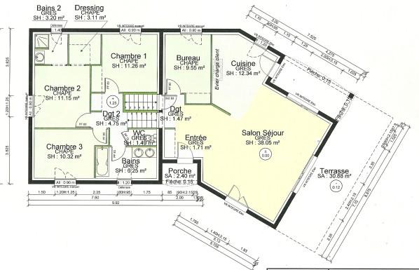 Plan de maison plain pied 3 chambres avec sous sol id es de travaux for Maison demi niveau toit plat