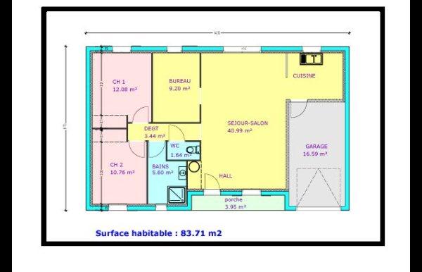 Plan maison 2 chambres et mezzanine