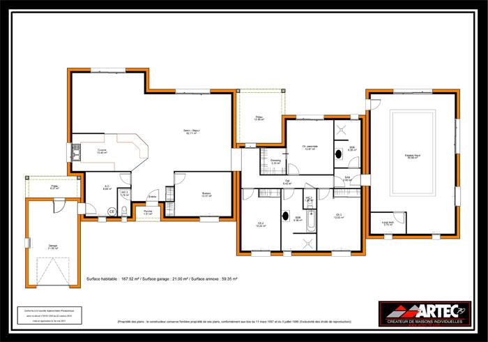 Plan de maison moderne en u avec piscine id es de travaux - Maison en u avec piscine ...