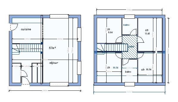 Plan de maison en l avec étage