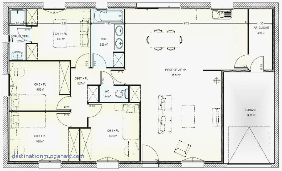 Plan de maison 4 chambres 100m2 id es de travaux - Plan de maison en v plain pied 4 chambres ...