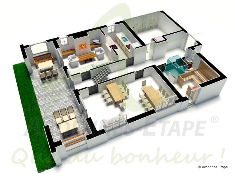 Plan de villa de luxe en 3d